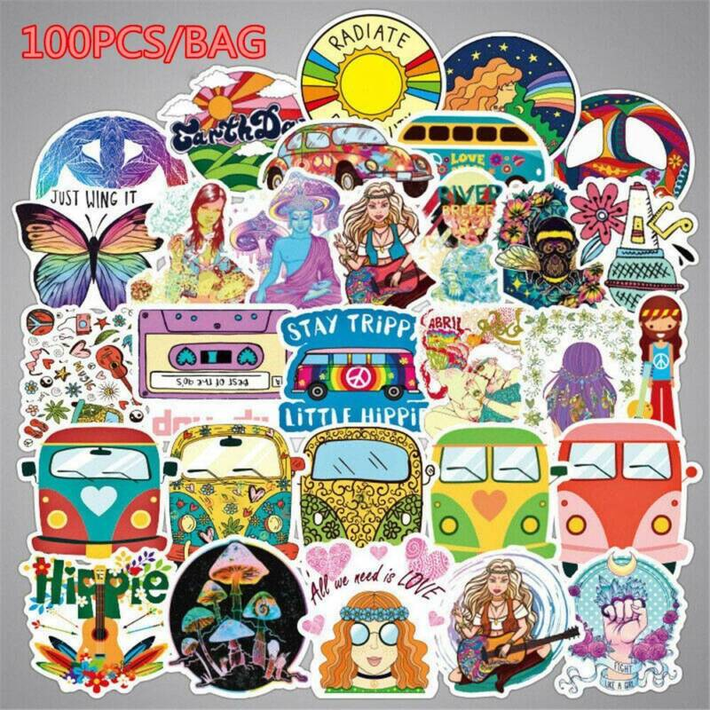 Home Decoration - 100x Hippie Laptop Skateboard Stickers Bomb Vinyl Luggage Decals Dope Sticker ..