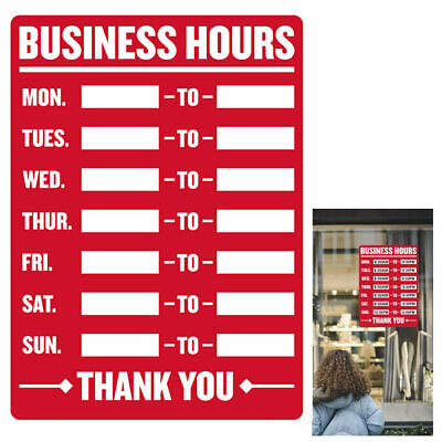 Business Hours Sign Open Mon Sun Closed Times Store Office Cling Window 9x12 New