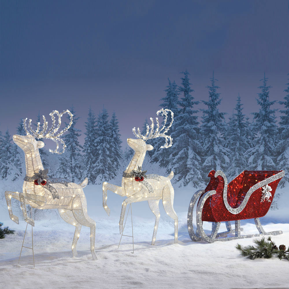 outdoor christmas decoration reindeer twinkling sleigh deer with 400. Black Bedroom Furniture Sets. Home Design Ideas