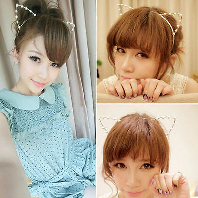 Fox Cat Ears Headband Metal Costume Anime Neko Cosplay Hair Clip Party Halloween