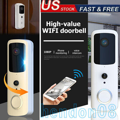 Wireless WiFi Video Doorbell Smart Door Intercom Security Camera Bell PIR 1080p