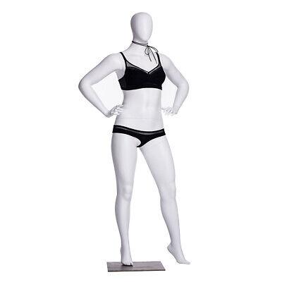 Matte White Adult Female Plus Size Fiberglass Egg Head Fashion Mannequin