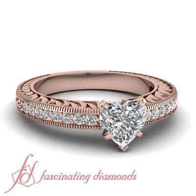 Vintage Inspired Engagement Rings For Women With Heart Shape Diamond GIA 0.85 Ct