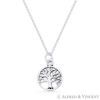 Tree-of-Life Charm 11mm Circle Pendant & Chain Necklace in .925 Sterling Silver