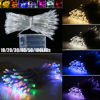 Battery Powered Fairy Lights - 10/20/30/40/50/100 LED Battery Operated Fairy String Lights Lamp Home Xmas Decor