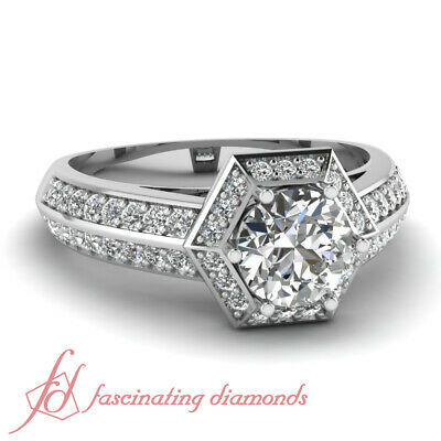 1.25 Ct Round Cut SI2-D Color Diamond Hexad Halo Engagement Ring Pave Set GIA