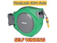 HOZELOCK AUTO REEL GARDEN HOSE PIPE 40 METRE SELF WIND CONTAINED WASH REWIND CARWASH WALL MOUNT