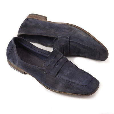 NIB $650 SILVANO SASSETTI Navy Blue Distressed Leather Loafers US 10.5 Shoes