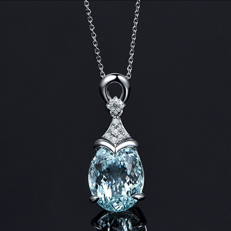 Jewellery - Vintage Gemstone  Natural Aquamarine Silver Chain Pendant Necklace Jewelry Gift