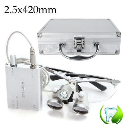 Portable Dental Surgical Loupes 2.5x 420mm Led Head Light Lamp Carry Case