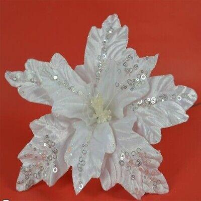 Fiore a stella bianco cm 55 per decorazioni da addobbi albero di natale natalizi