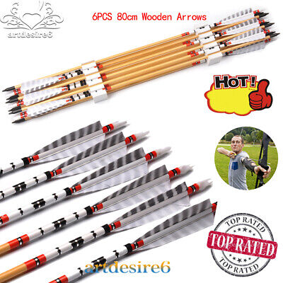 """6pc//lots Wooden Arrows 31.5/"""" Long Bow Hunting Target OD 8.5mm 20-70lbs"""