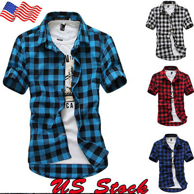 - US Mens Short Sleeve Casual Top Check Shirt Brave Soul Flannel Brushed Cotton