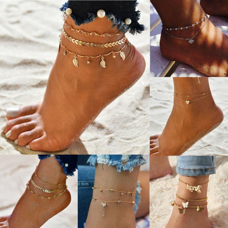 Gold Silver Ankle Bracelet Women Anklet Adjustable Chain Foo