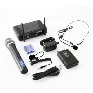 PYLE PDWM3378 UHF Wireless Microphone System Kit, Includes Handheld Mic, Headset Mic, Lavalier Mic & Beltpack