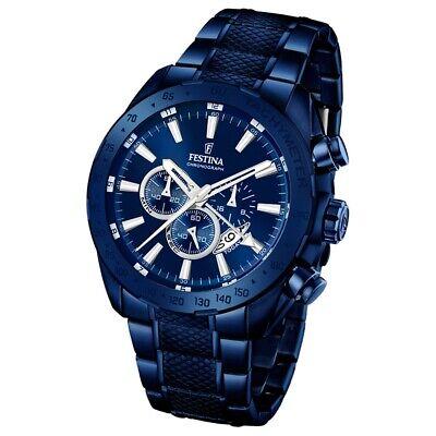 Festina Herren-Armbanduhr Prestige Chronograph Quarz Edelstahl blau UF16887/1