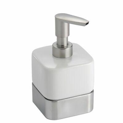 mDesign Compact Ceramic Refillable Liquid Soap Dispenser Pump - White/Brushed Ceramic Liquid Soap Dispenser