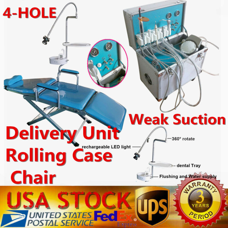 Dental Portable Folding Mobile Chair W/ LED Light+Delivery Unit Rolling Case UPS