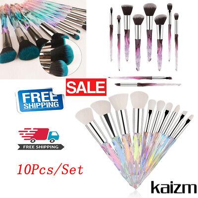 10Pcs Make Up Brushes Set Cosmetic Powder Foundation Crystal Handle Tool Hot New