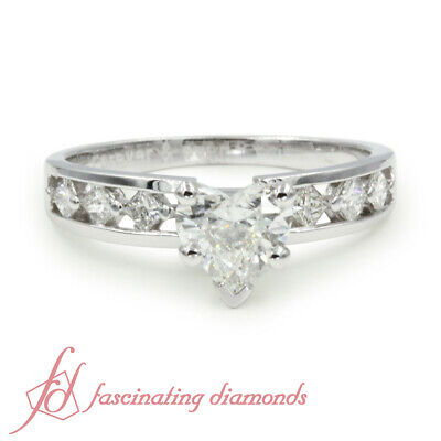 Channel Set Engagement Ring 1.20 Ct Heart Shaped & Princess Cut Diamond SI1 GIA 1