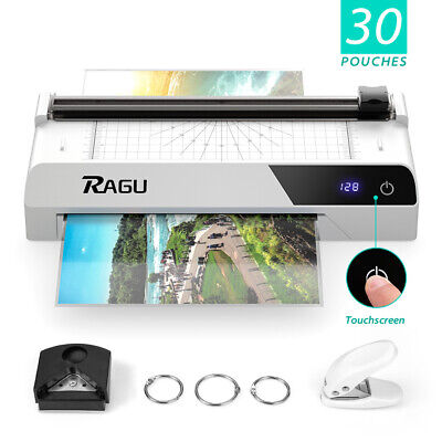 A4 Touchscreen Thermal Laminator 9 Inches With 30 Pouchespaper Trimmer White