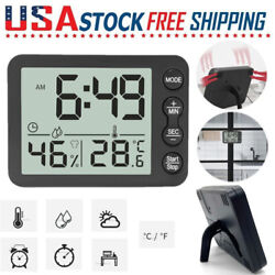Electronic LED Digital Alarm Clock Weather Thermometer Humidity Snooze Door Desk
