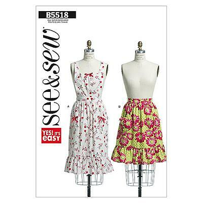 Sew & Make Butterick B5518 SEWING PATTERN - Womens Vintage Style APRONS osz