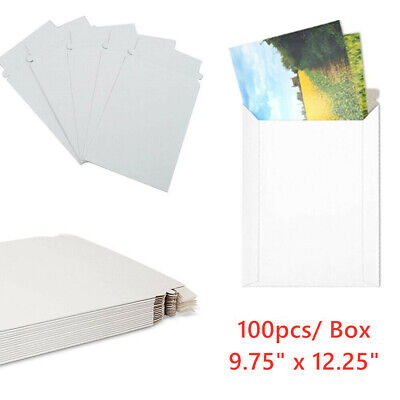100 Pack - 12.25 X 9.75 Self Seal White Photo Flat Cardboard Envelope Mailers