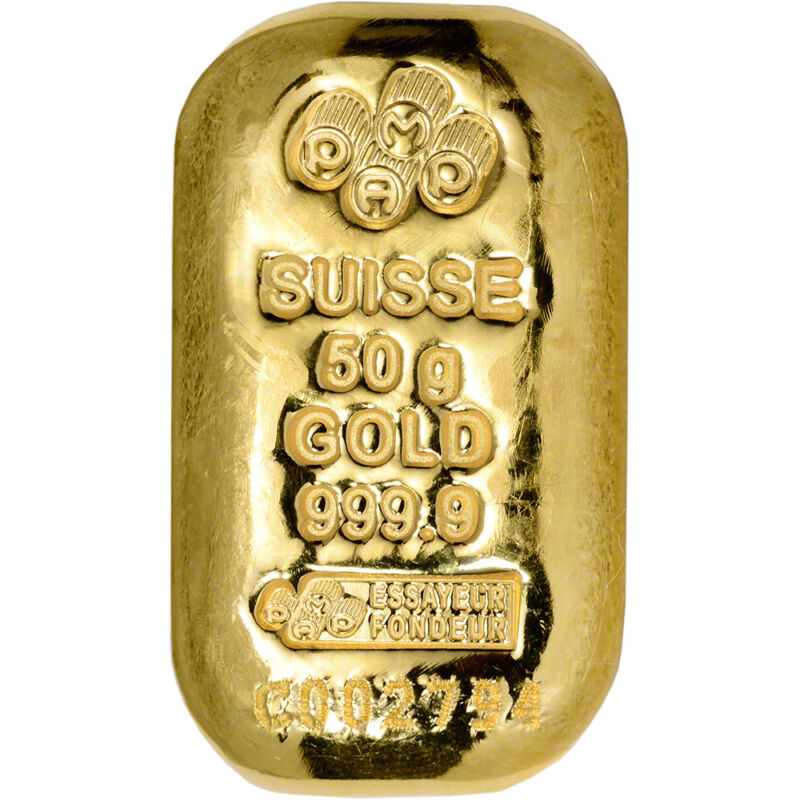 50 gram Gold Bar - PAMP Suisse - Poured - 999.9 Fine with Assay