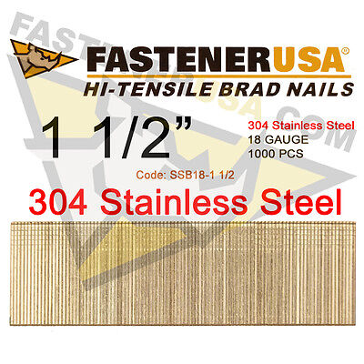 1 12 18 Gauge Straight Brad Finish Nails Stainless Steel 18 Ga 1000 Ct