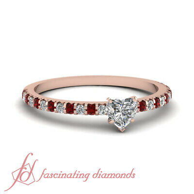 1 Ct Heart Shaped Diamond And Ruby Pave Set Rose Gold Engagement Rings For