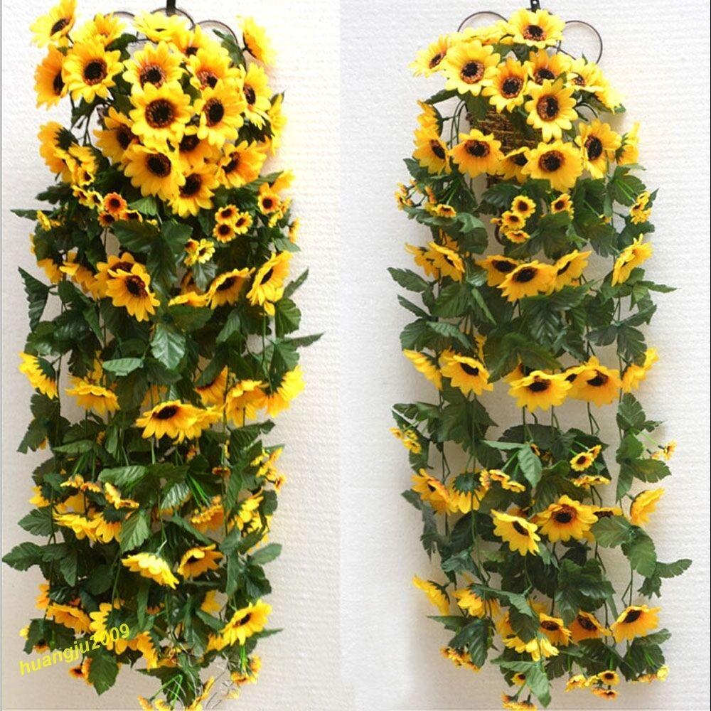 Flower Garland: Artificial Yellow Sunflower Garland Flower Vine Wedding