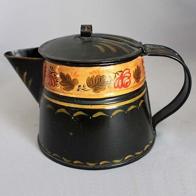 Antique Vtg OLD TOLEWARE TIN FOLK ART COFFEE POT Hand Made Tinsmith Painted