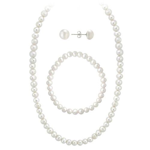 925 Sterling Silver 5.5-6mm Freshwater Pearl Necklace Bracelet Earrings Set