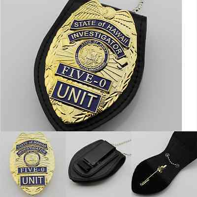 US Hawaii Five-0 Hawaii 5 O Badge & Belt Holder Chain Cosplay Prop Emblem Badges