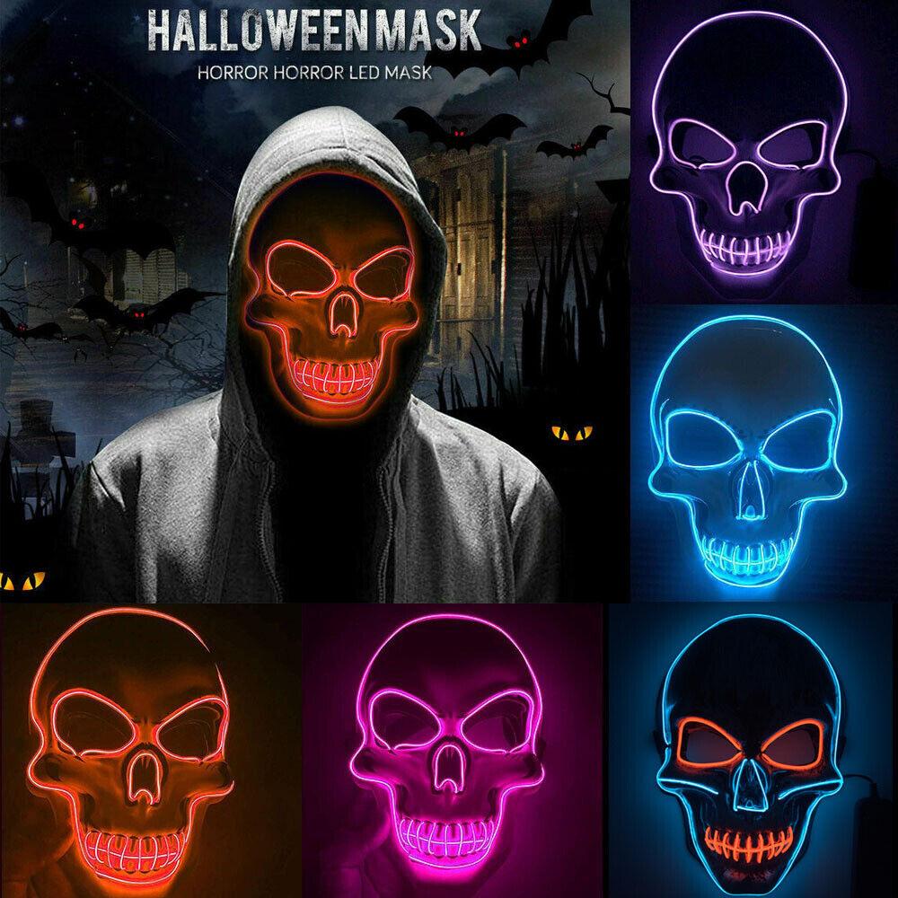 LED Horror Maske mit 3 versch Modi, Clownmaske Halloween Cosplay Karneval Party