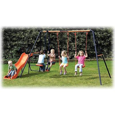 Hedstrom Europa Sturdy Wavy Slide Double Swing and Glider 36m - 10 yrs Outdoors