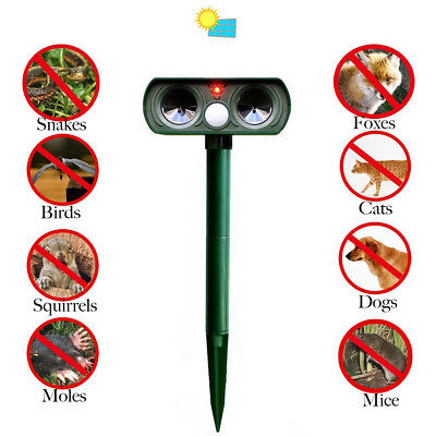 Hot Ultrasonic Solar Power Pest Animal Repeller Repellent Garden Cat Dog BO