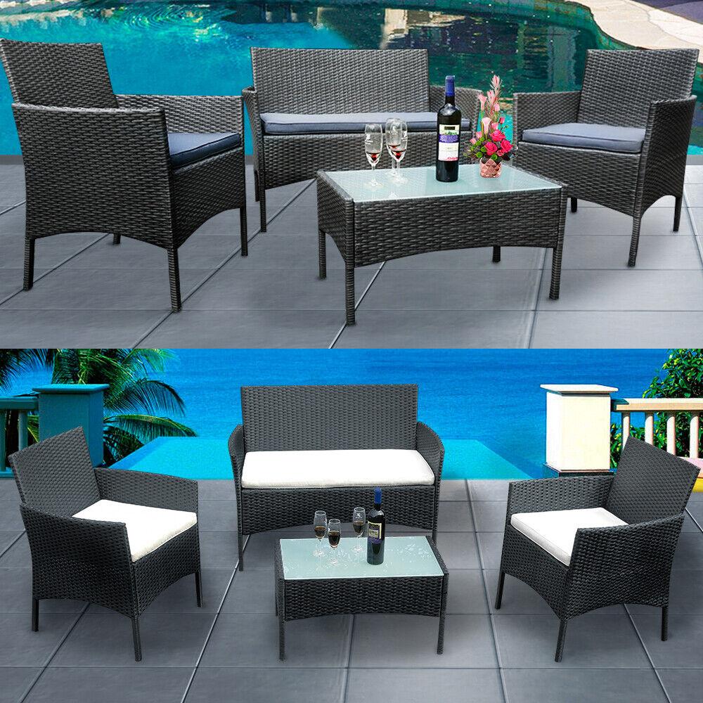 Garden Furniture - 4 Piece Rattan Garden Furniture Sofa Chairs Table Cushions Set Conservatory UK