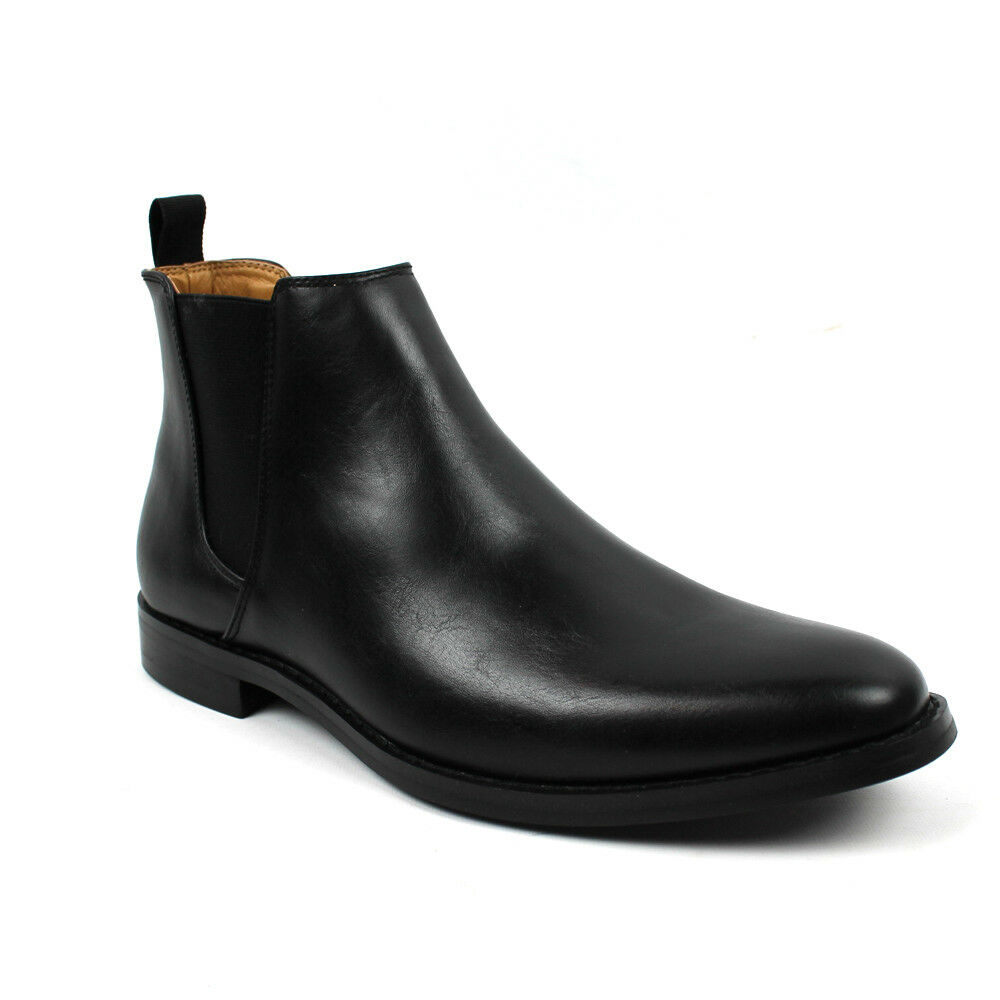 Men's Ankle Dress Boots Slip On Almond Round Toe Leather Chelsea Jaxson B1851 1