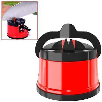 Afilador de Cuchillos Tijeras Navajas Manual con Ventosa Fijacion Tungsteno Rojo