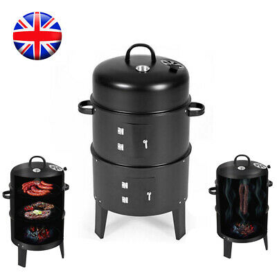 Round Fire Pit BBQ Grill Garden Heater Barbecue Smoker Cooking Outdoor Patio UK