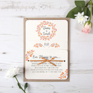 Autumn Orange Rustic Wedding Invitation Satin Ribbon