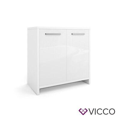 VICCO Waschbeckenunterschrank KIKO Weiß hochglanz Unterschrank Badschrank