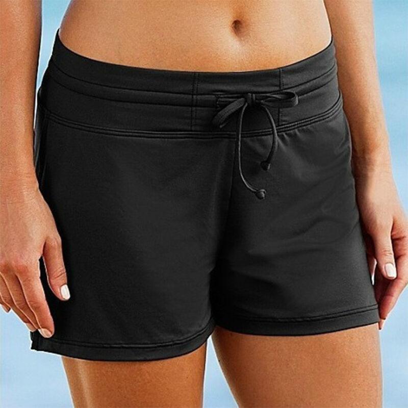 Damen Schwarz Badehose Boardshorts Bademode Badeshorts Bikini Hotpants Liniert