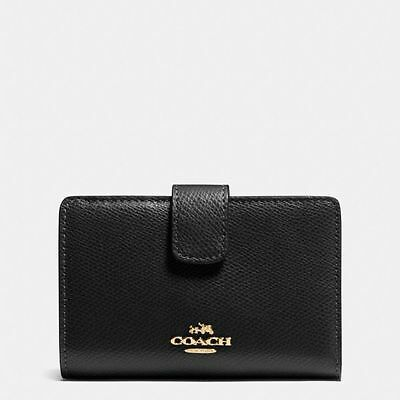NEW COACH F53436 Crossgrain Leather MEDIUM CORNER ZIP WALLET BLACK