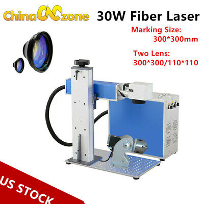 30w Fiber Laser Rotary Axis Metal Marking Machine Engraver Two Field Lens Us