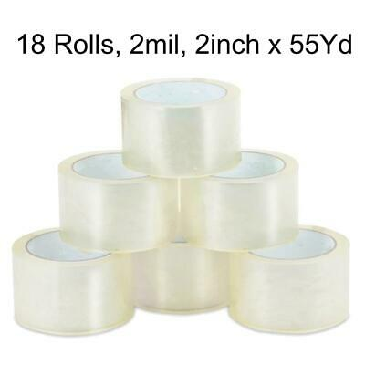 18 Rolls - 2 Inch X 55 Yards 165 Ft Clear Carton Sealing Packing Package Tape Us
