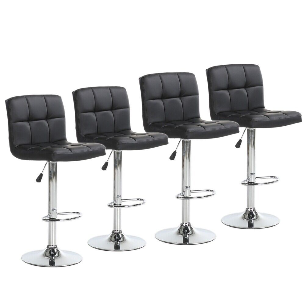 Set of 4 Bar Stools Adjustable Swivel Pub Counter Height Dining Chair Pu Leather Benches, Stools & Bar Stools