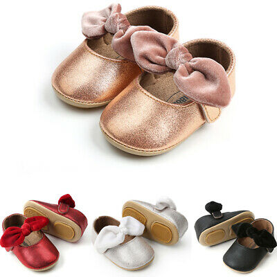 USHot Toddler Girl Crib Shoes Newborn Baby Bowknot Soft Sole Prewalker Sneakers